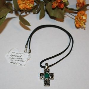 Natural Emerald Gemstone Cross Leather Necklace
